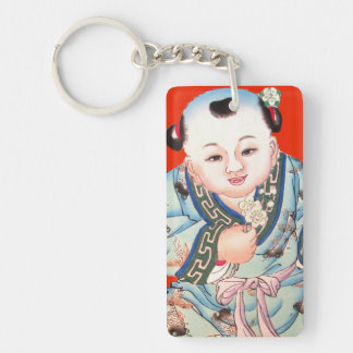 Chinese New Year cute laughing Buddha art Keychain