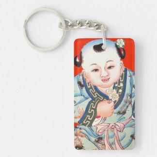 Chinese New Year cute laughing Buddha art Keychain