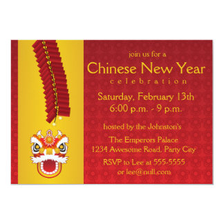 Chinese New Year Dragon and Firecrackers Card