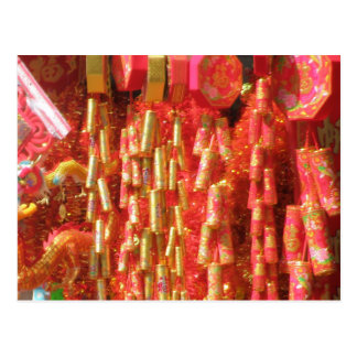 Chinese New Year Firecrackers Good Luck Postcard