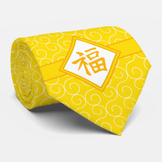 Chinese New Year • Golden Fu Lucky Symbol Neck Tie