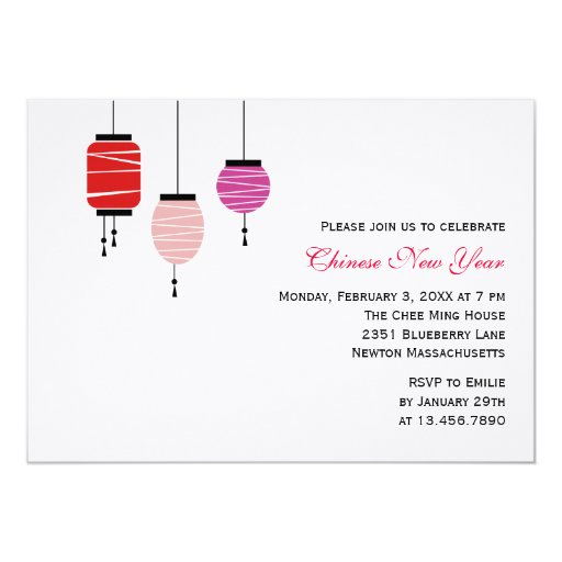 Chinese New Year Lanterns 5x7 Paper Invitation Card