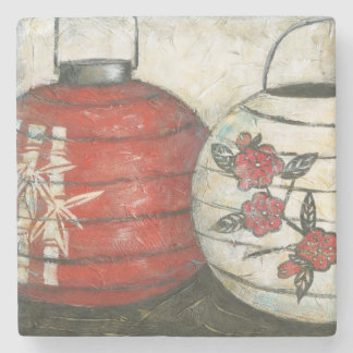 Chinese New Year Lanterns with Floral Print Stone Coaster