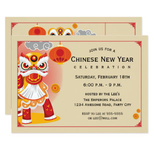 chinese new year lion dancer invitation