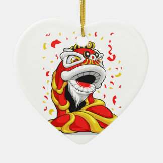 Chinese New Year Lion Double-Sided Heart Ceramic Christmas Ornament