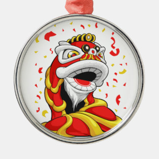 Chinese New Year Lion Round Metal Christmas Ornament
