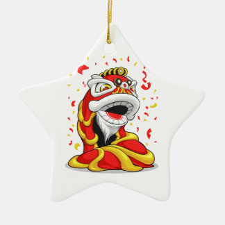 Chinese New Year Lion Double-Sided Star Ceramic Christmas Ornament