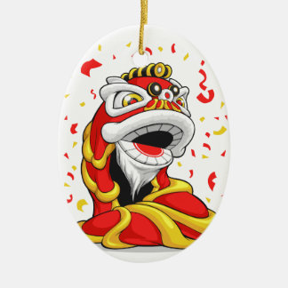 Chinese New Year Lion Double-Sided Oval Ceramic Christmas Ornament