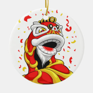 Chinese New Year Lion Double-Sided Ceramic Round Christmas Ornament