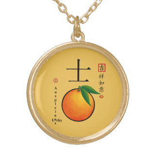 Chinese new year lucky charm characters gold plated necklace