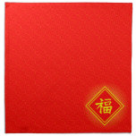 Chinese New Year • Lucky Fu Symbol • Red and Gold Cloth Napkins