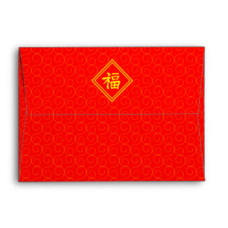Chinese New Year • Lucky Fu Symbol • Red and Gold Envelope