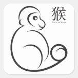 Chinese New Year Monkey Line Art Square Sticker