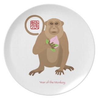 Chinese New Year Monkey with Longevity Peach Dinner Plate