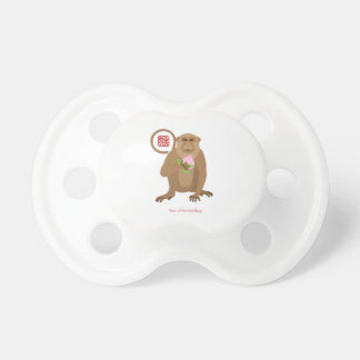 Chinese New Year Monkey with Longevity Peach Pacifier