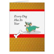 Chinese New Year of the Dog, Corgi as a Dragon Card