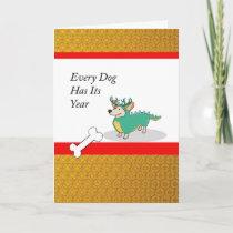 Chinese New Year of the Dog, Corgi as a Dragon Holiday Card