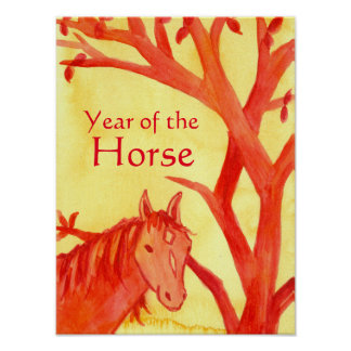 Chinese New Year of the Horse Animal Red Poster