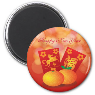 Chinese New Year of the Horse Mandarin Oranges 2 Inch Round Magnet