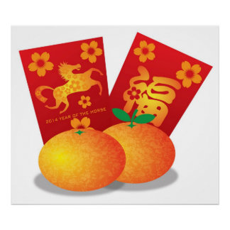 Chinese New Year of the Horse Mandarin Oranges Poster