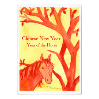 Chinese New Year of the Horse Red Party Card
