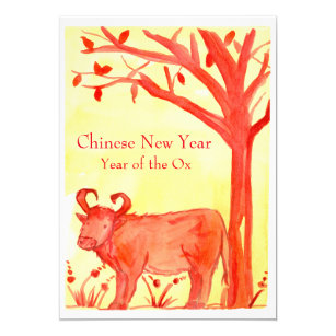 chinese new year of the ox red party invitation