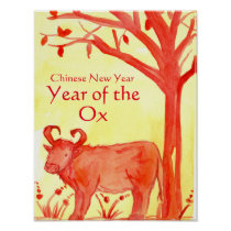 Chinese New Year of the Ox Watercolor Illustration Poster