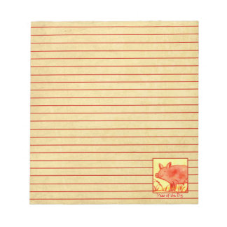 Chinese New Year of the Pig Farm Animal Red Lined Notepad