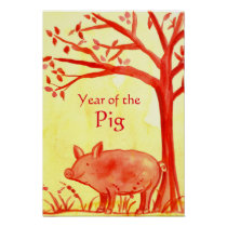 Chinese New Year of the Pig Farm Animal Red Poster