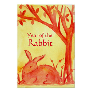Chinese New Year of the Rabbit Animal Red Poster