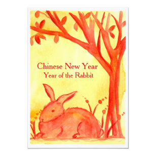 chinese new year of the rabbit red party invitation