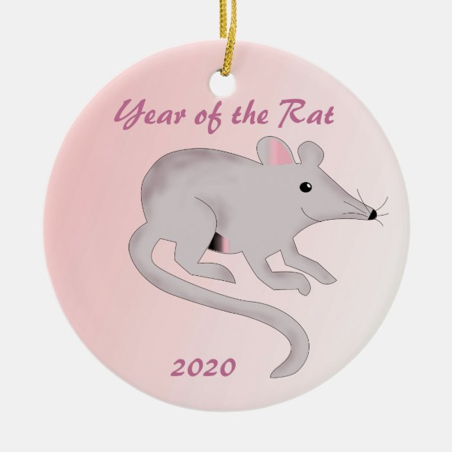 Chinese New Year of the Rat Pink Ornament