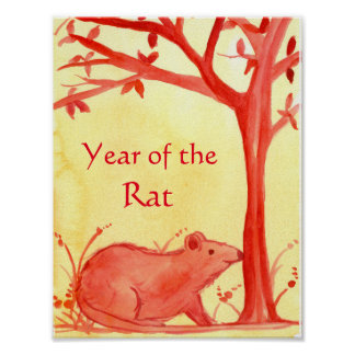 Chinese New Year of The Rat Watercolor Art Poster