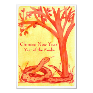 Chinese New Year of the Snake Red Party Card