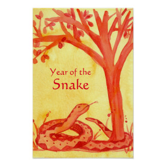 Chinese New Year of the Snake Reptile Red Poster
