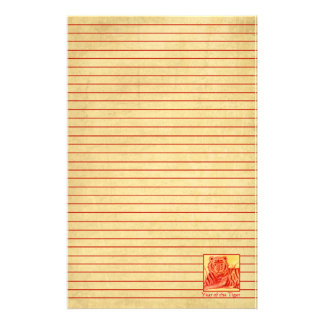Chinese New Year of the Tiger Wildlife Red Lined Stationery