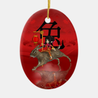 Chinese New Year Ornament, New Year 2011 Double-Sided Oval Ceramic Christmas Ornament