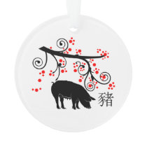 Chinese New Year Pig and Flowers Ornament