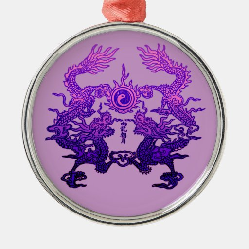 CHINESE NEW YEAR Purple Dragons Christmas Tree Ornaments