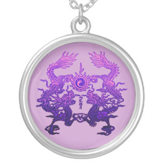 CHINESE NEW YEAR Purple Dragons Round Pendant Necklace