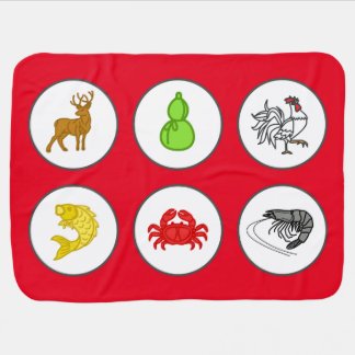 Chinese New Year Red Fish Prawn Crab Game Mat Swaddle Blanket