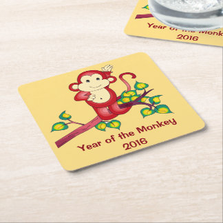 Chinese New Year Red Monkey Square Paper Coaster
