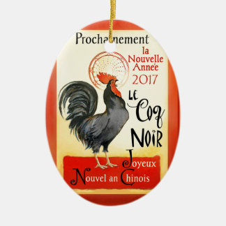 Chinese New Year Rooster French Poster Coq Noir Ceramic Ornament