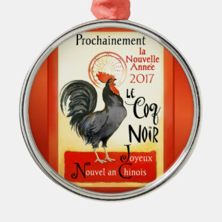 Chinese New Year Rooster French Poster Coq Noir Metal Ornament