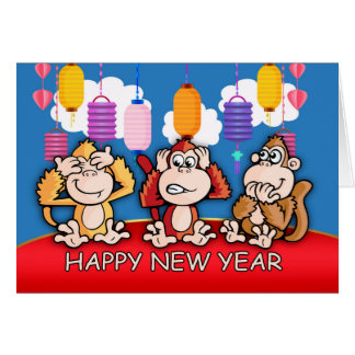 Chinese New Year, Year Of The Monkey, Three wise Card
