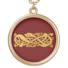 Chinese New Year - Year Of The Snake 2013 Gold Plated Necklace at Zazzle