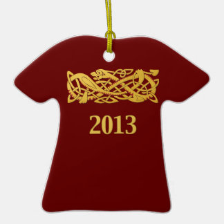 Chinese New Year - Year Of The Snake 2013 Double-Sided T-Shirt Ceramic Christmas Ornament