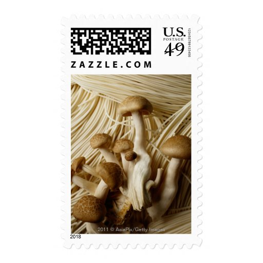 Chinese noodles and mushrooms stamps