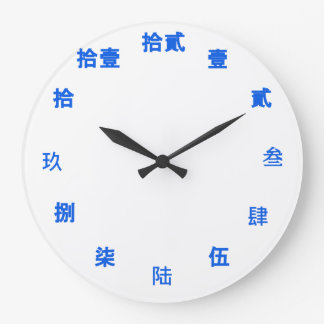 Chinese Numeral Character (Blue font) Large Clock