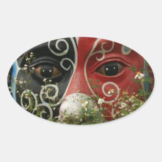 Chinese opera mask, Chiayi, Taiwan Oval Sticker